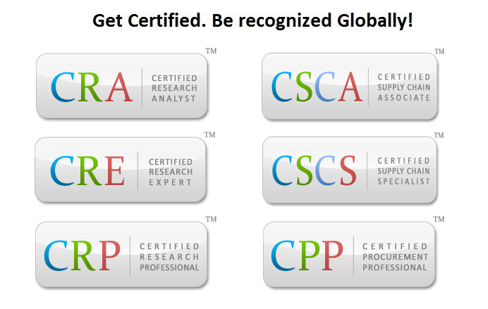 Certified Researcch Analyst,Certified Supply Chain Associate